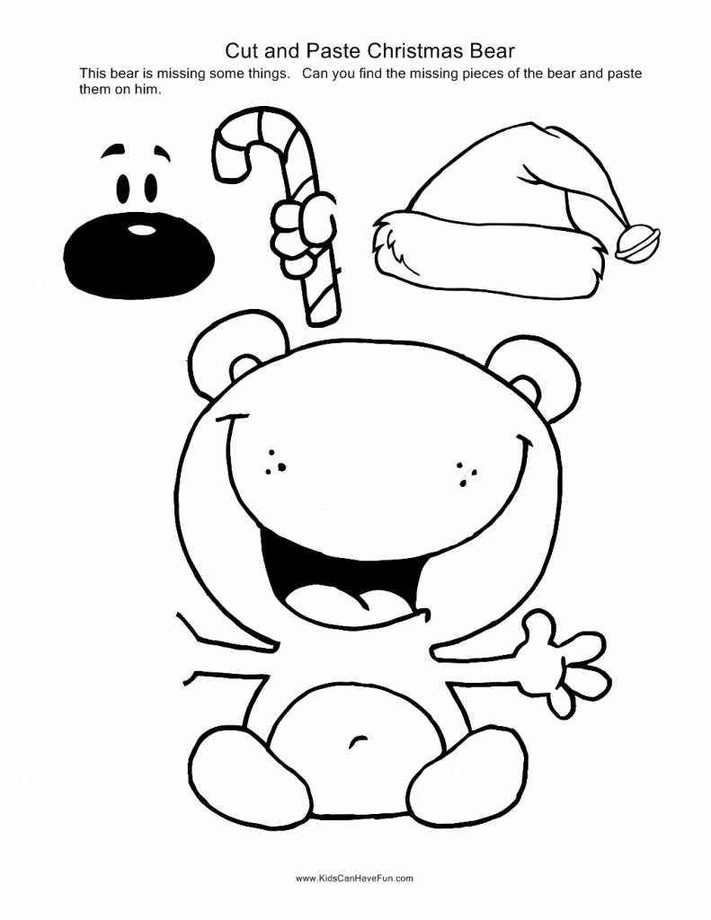 kindergarten Winter cut and paste worksheets   Christmas Cut and ...
