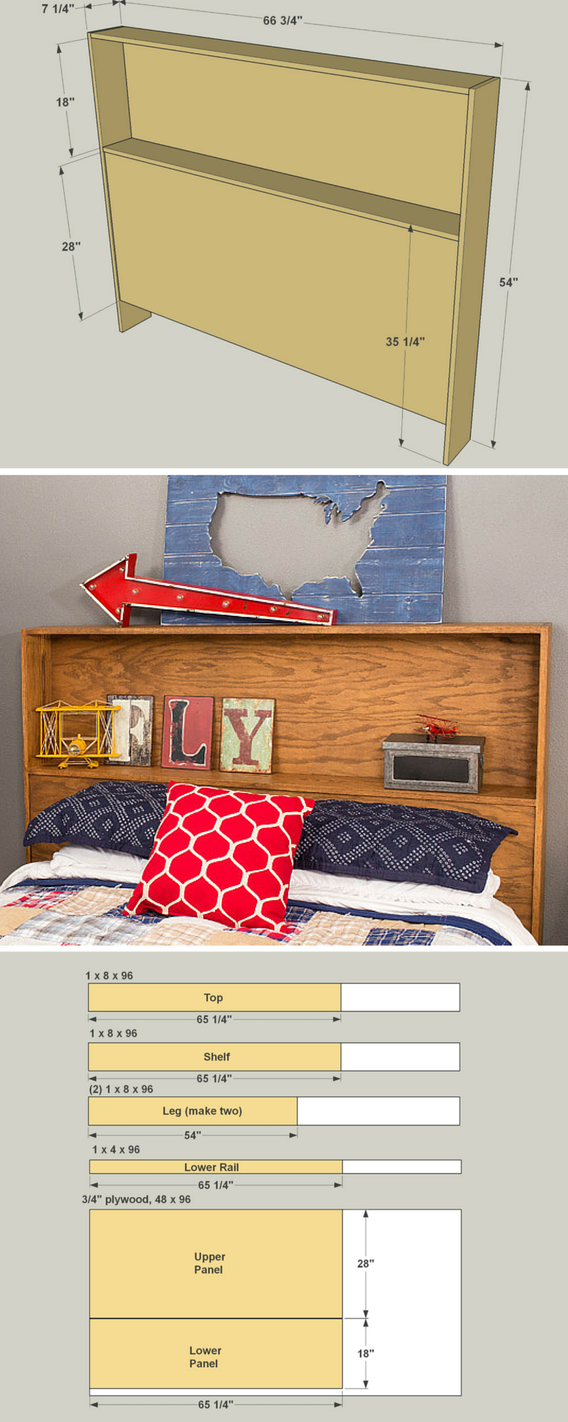 This Headboard Offers A Storage Shelf Behind Your Head Plus