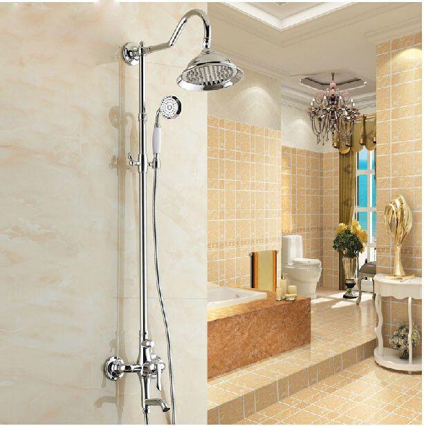 Chrome Bathroom Wall Mount Shower Faucet Set 8\