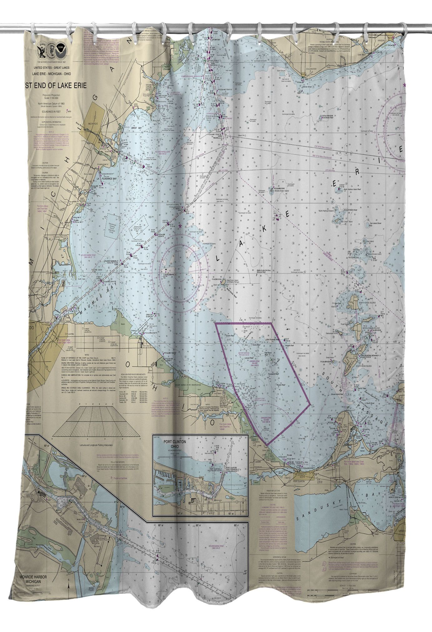 Mi Oh West End Of Lake Erie Mi Oh Nautical Chart Shower Curtain