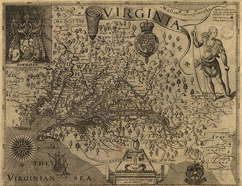 Map of Jamestown, VA, by Captain John Smith. 1606/1624. | Colonial ...
