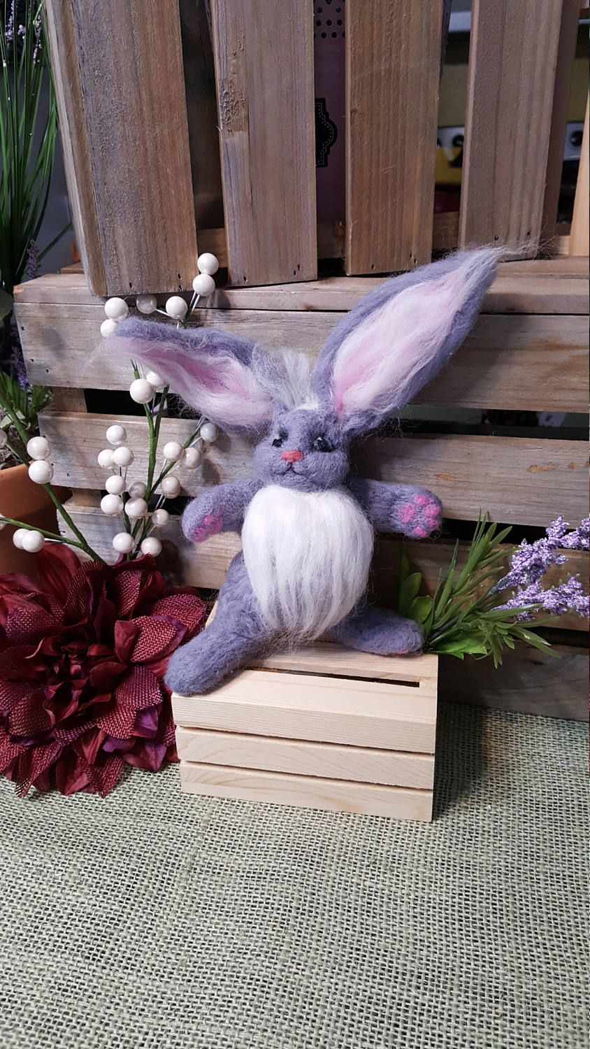 Easter bunny needle felted sculpture by WhitmoresWhimsicals on Etsy