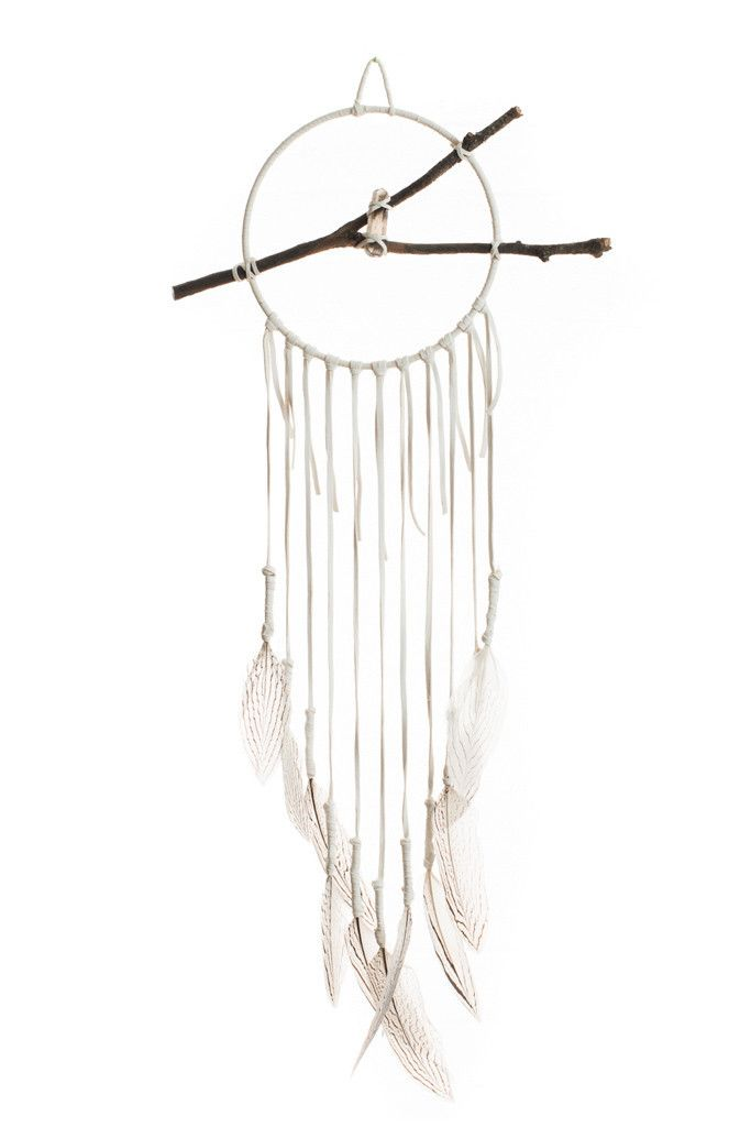 Torchlight Jewelry Dream Catcher Made with Silver Pheasent Feathers and White Deerskin Leather
