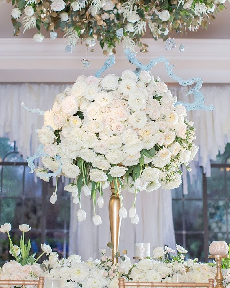 Fabulous tall white roses wedding centerpiece for inspiration from ...