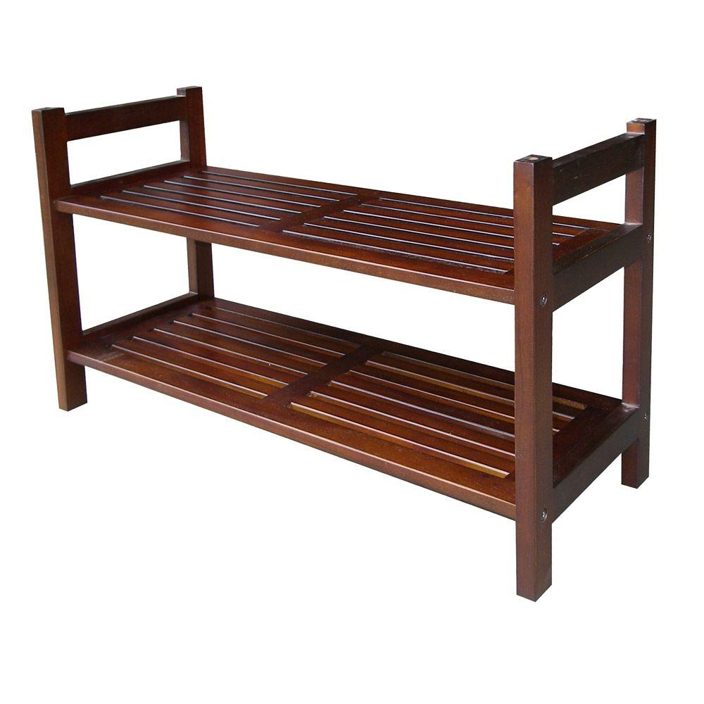 Tier in w mahogany brown stackable shoe rack stackable