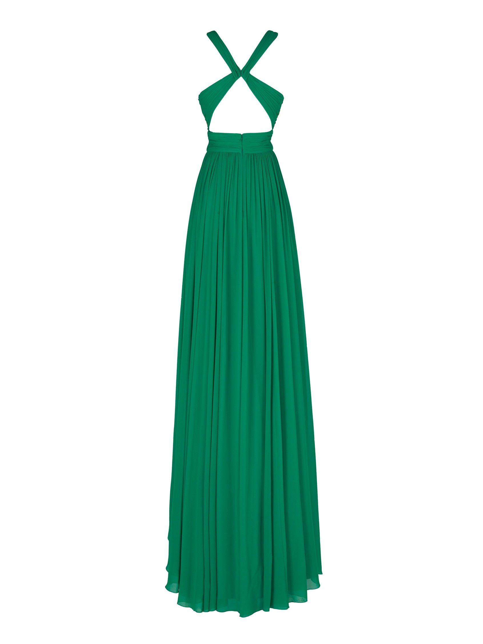 Griega - Vestido tul bordado multicolor espalda cruzada gasa ...