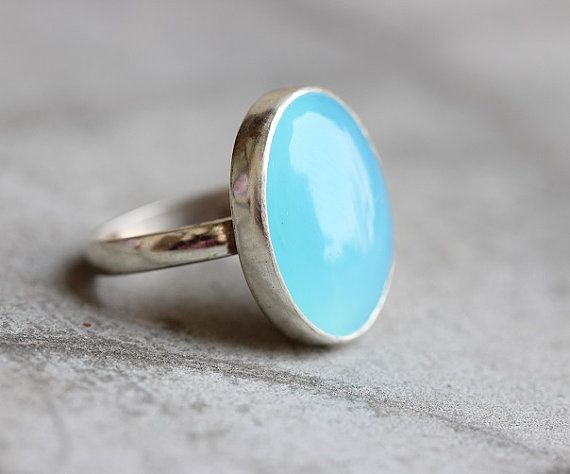 Blue Chalcedony Ring,Aqua Chalcedony Ring,Gemstone Ring,Handmade Sterling Silver Ring,Gift For Solitaire Ring,Boho Ring,Blue Cabochon Rings