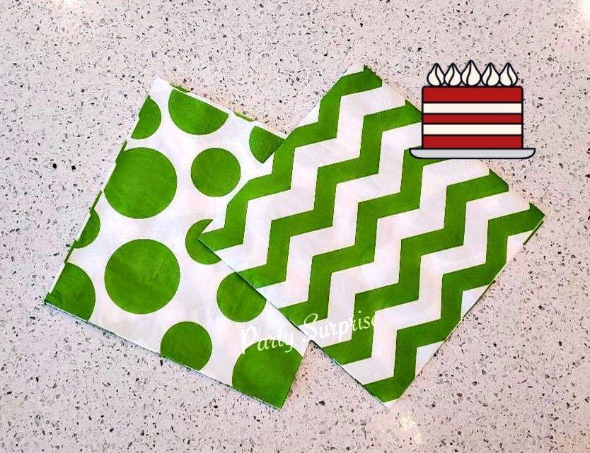 Green Napkins Paper Napkin Luncheon Napkins Green & White Chevron Dots Birthday Napkins Green Party Napkins