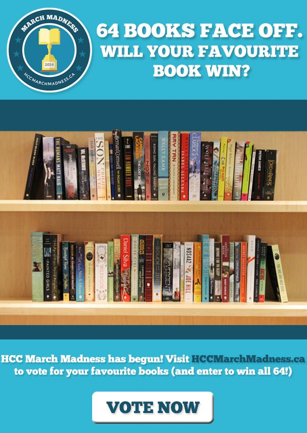 It's back! Your chance to win 64 books. Visit hccmarchmadness.ca to vote for your favourite books and enter to win all 64 competing! http://hccmarchmadness.ca