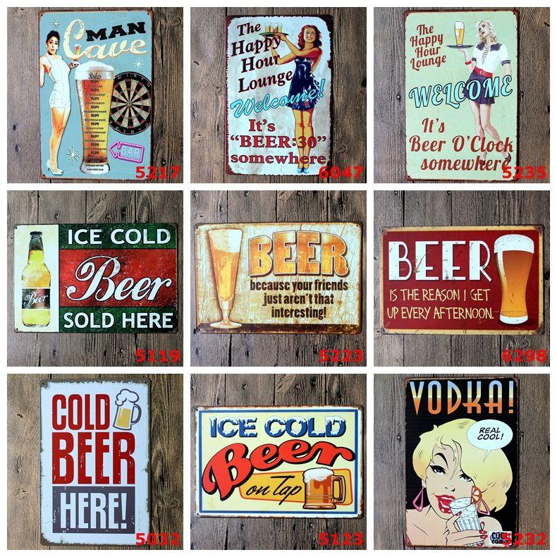 Beber Garrafas De Cerveja Vintga Tin Signs Clube Bar Cafe Casa Decoracion Hogar Sinais De Metal Do Vintage Parede Do Cartaz Beer Tin Sign Signs Pub Wine Signs