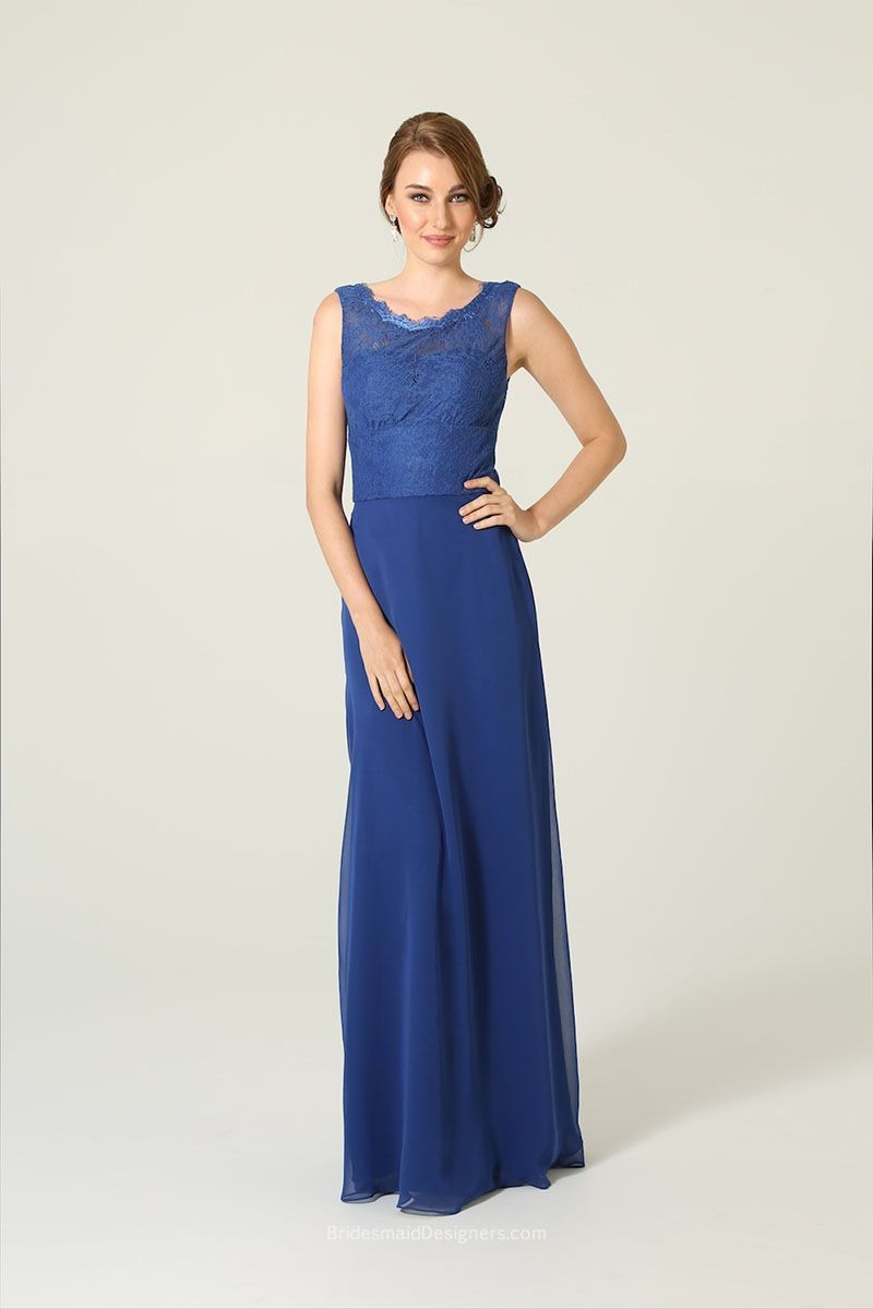 Lace dress royal blue  Floor length modest Aline bridesmaid dress colored in royal blue