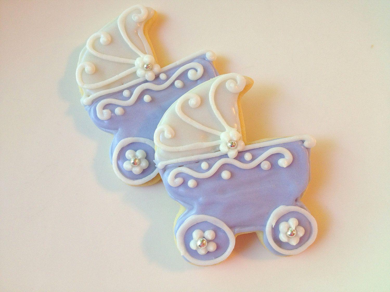 Baby Carriage Sugar Cookies Pram Baby Shower Lavender Carriage. via Etsy.