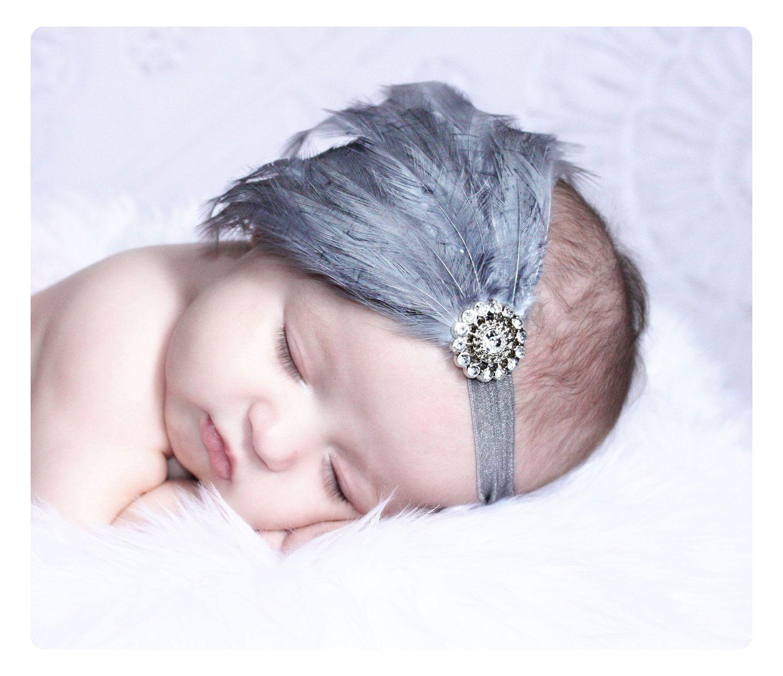 Newborn Headbands..Baby Girls Headbands..Baby..Feather Headbands..Baby Feather Headbands..Newborn photo Prop..silver Headband..gray.grey. $15.00, via Etsy.