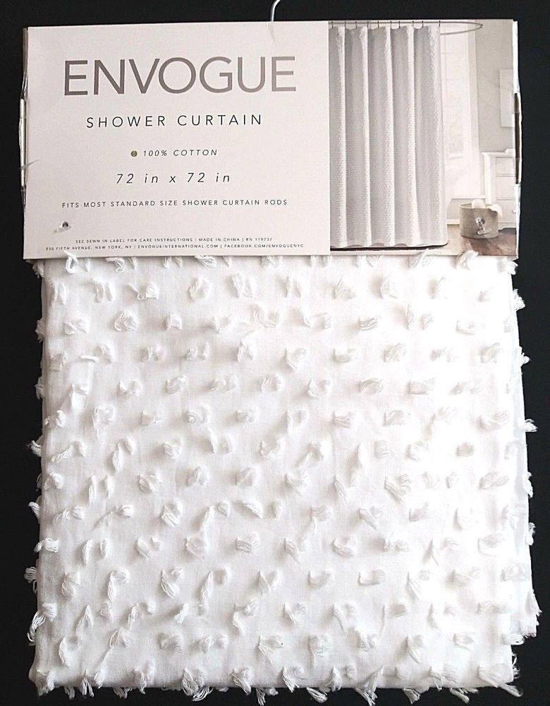 Envogue Cotton Textured Fabric Shower Curtain 72x72 White Nubbed