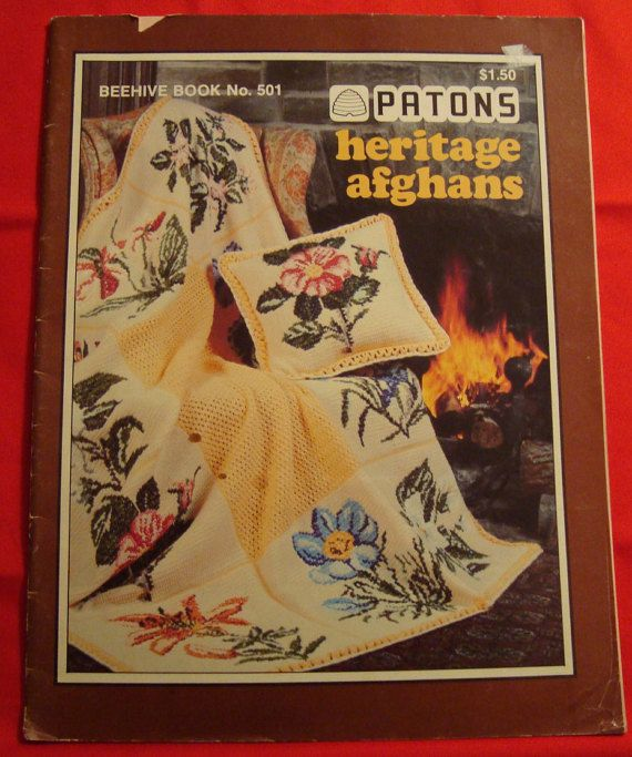 Vintage Knit and Crochet Heritage Afghan Patterns by Patons,Provincial Floral,Fair isle,Compass,Basket Weave,Aran,Indian Summer afghans