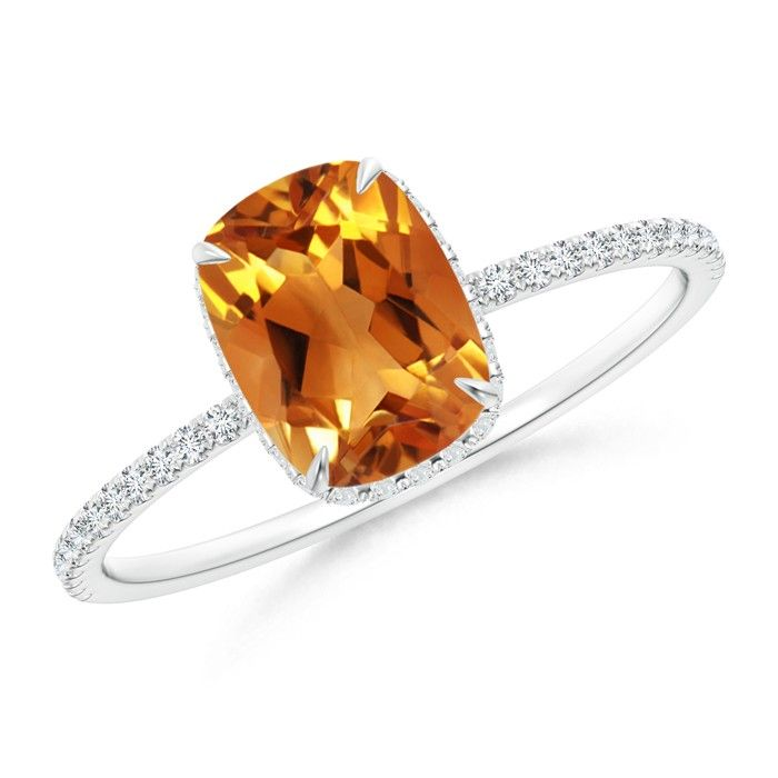 Angara Cushion Citrine Solitaire Ring with Diamond Accents qySKQ
