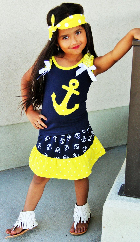 Ahoy sailor anchor nautical yellow navy blue summer beach
