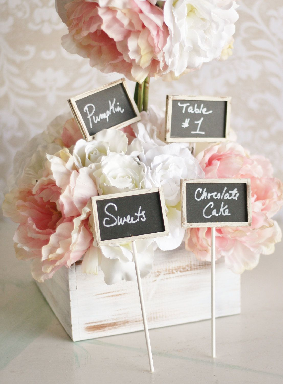 Chalkboard Wedding Signs used for pot luck dishes. Guests can write ...