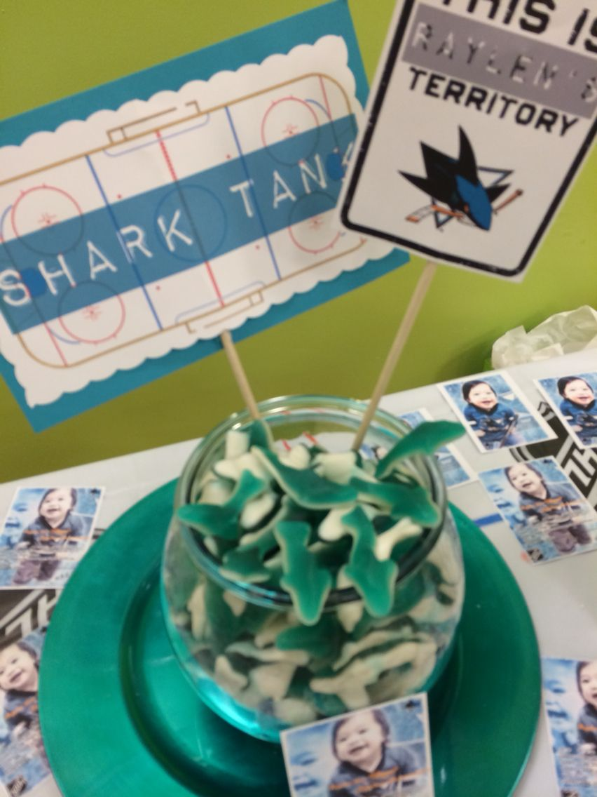 Raylen Jaxs first birthday with a San Jose Sharks hockey theme