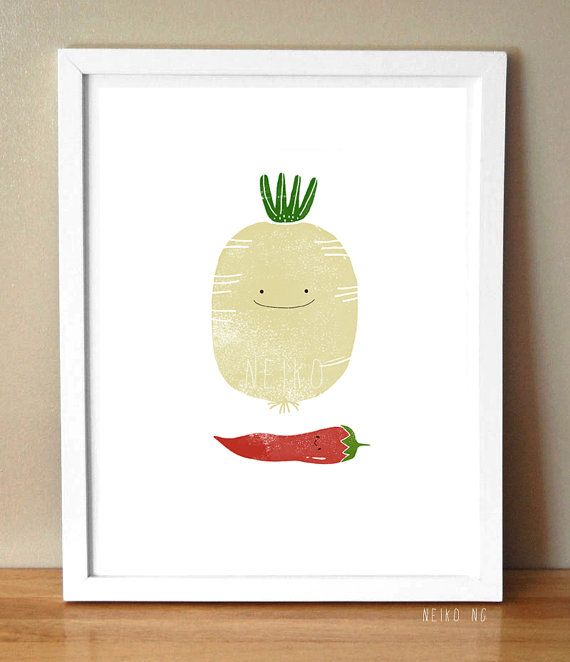 Cute  Radish and Red Pepper Vegetable Art Print 8X10 by neikoart, $20.00