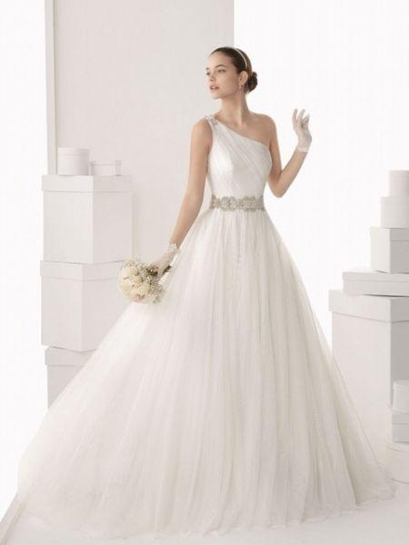 vestido de novia ball gown de un solo un hombro -- rosa clará