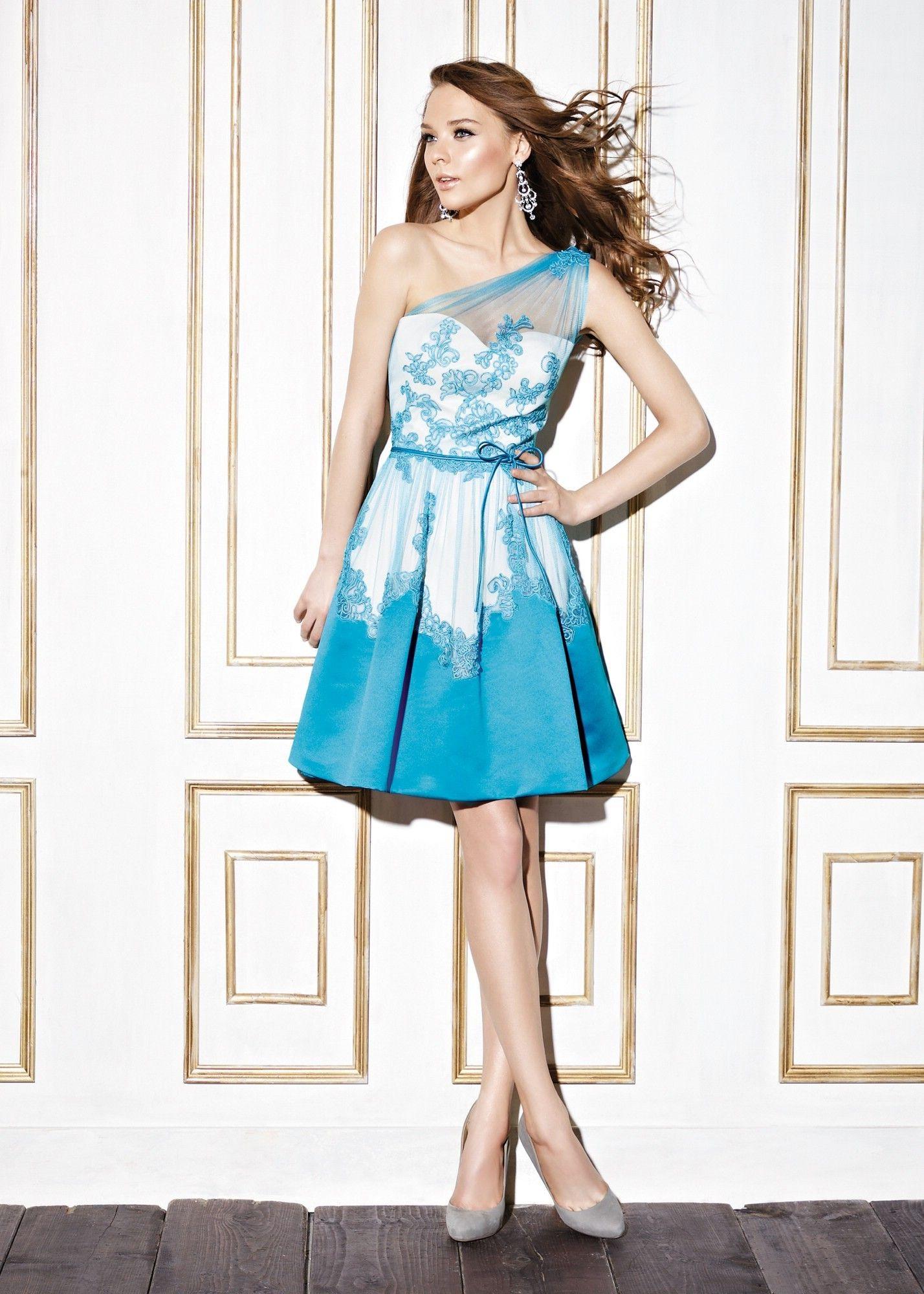 One shoulder knee length satin blue a line bridesmaid dress pen