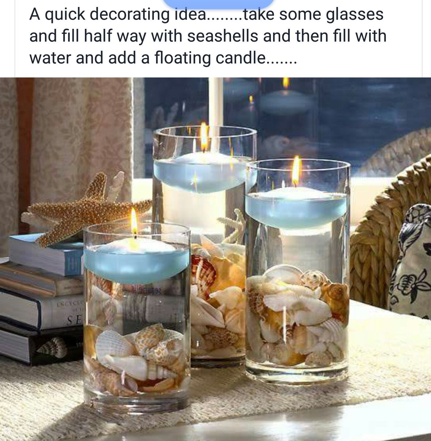 Easy Floating Candle Centerpieces: Beach Wedding Centerpieces