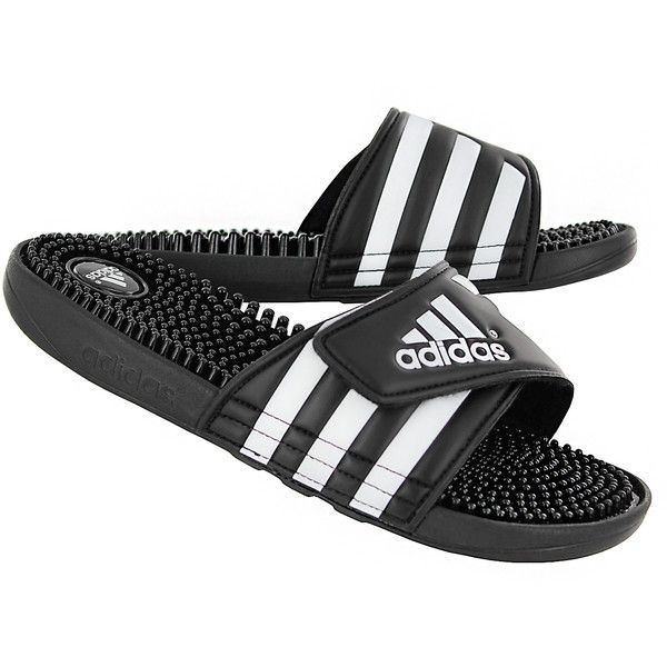 dd07863a8 Adidas Women s ADISSAGE black white slide sandals ( 40) ❤ liked on Polyvore  featuring shoes