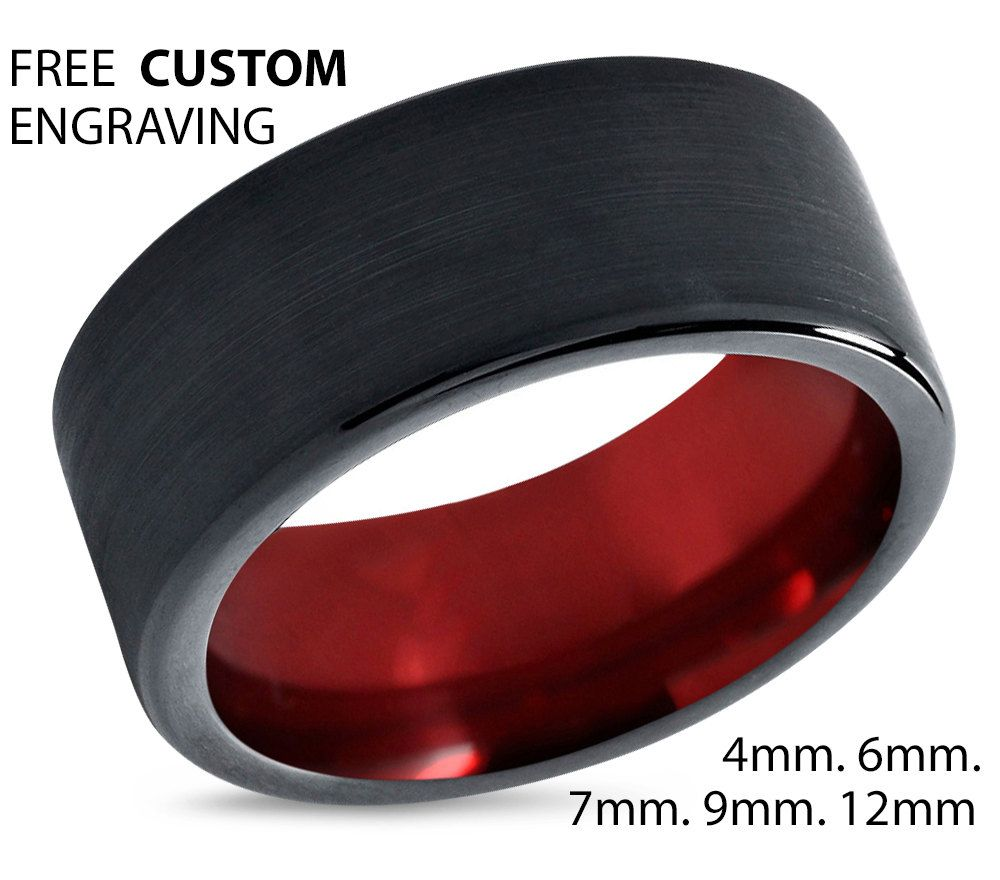 Tungsten Ring Mens Black Red Wedding Band Carbide 9mm Man Male