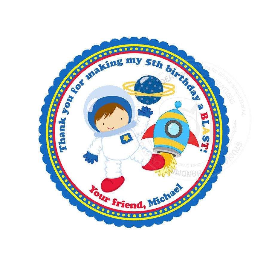 Custom astronaut birthday printable 2 5 tags astronaut space d i y thank you tags personalized stickers you print 2 5 tags digital file by studioidea
