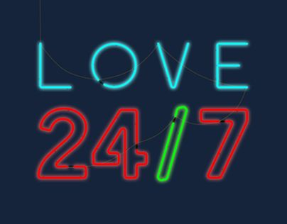 """Check out new work on my @Behance portfolio: """"Love 24/7 Neon Light Graphic"""" http://be.net/gallery/34018918/Love-247-Neon-Light-Graphic"""