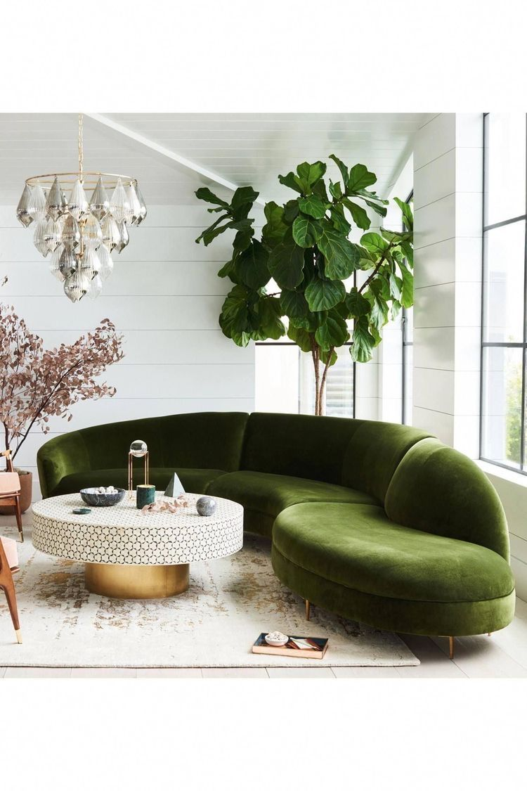 Gorgeous White And Green Living Room Decor With Curved Sofa In 2020 Living Room Green Retro Home Decor Living Room Designs #retro #living #room #furniture