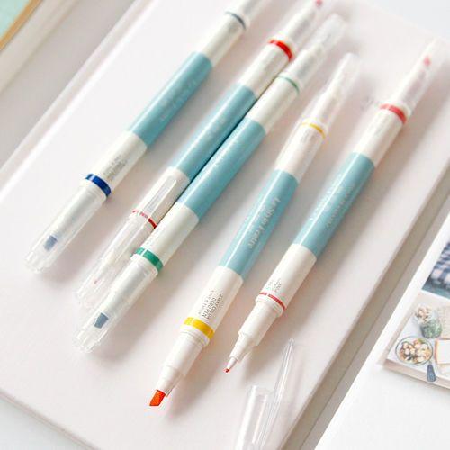 Two Way Deco Color Marker Pen 5EA Set Paper Diary Drawing Art Design korea