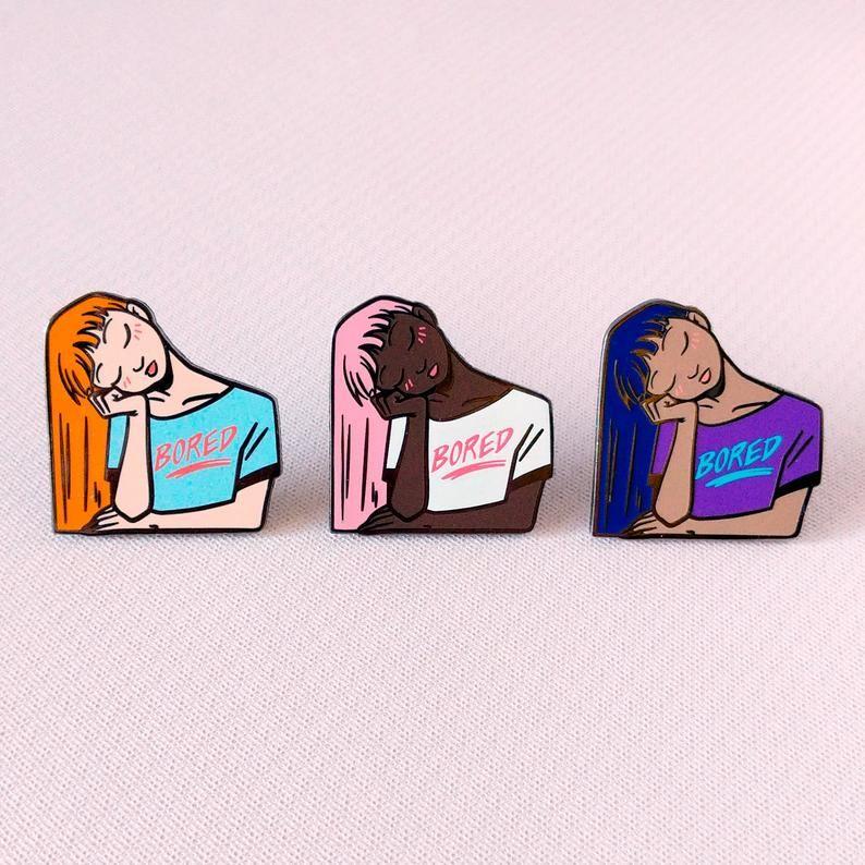 Bored Girl Enamel Pin