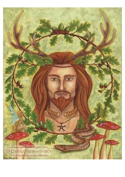 The Greenman  Cernunnos/Herne the Hunter... Cernunnos the Horned God...By Artist Esther Remmington...