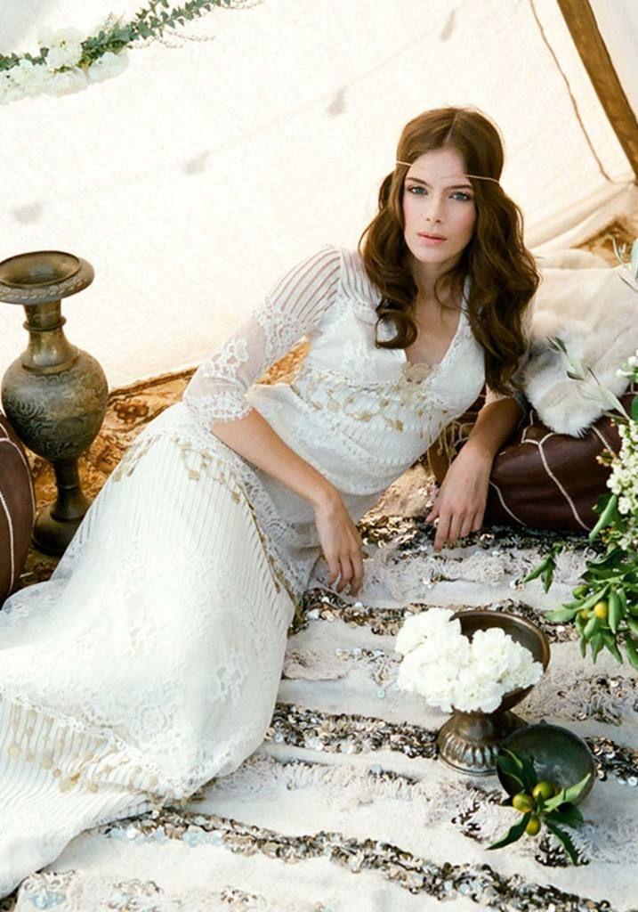 Claire Pettibone Seville Designer Wedding Dress with Vintage Lace ...