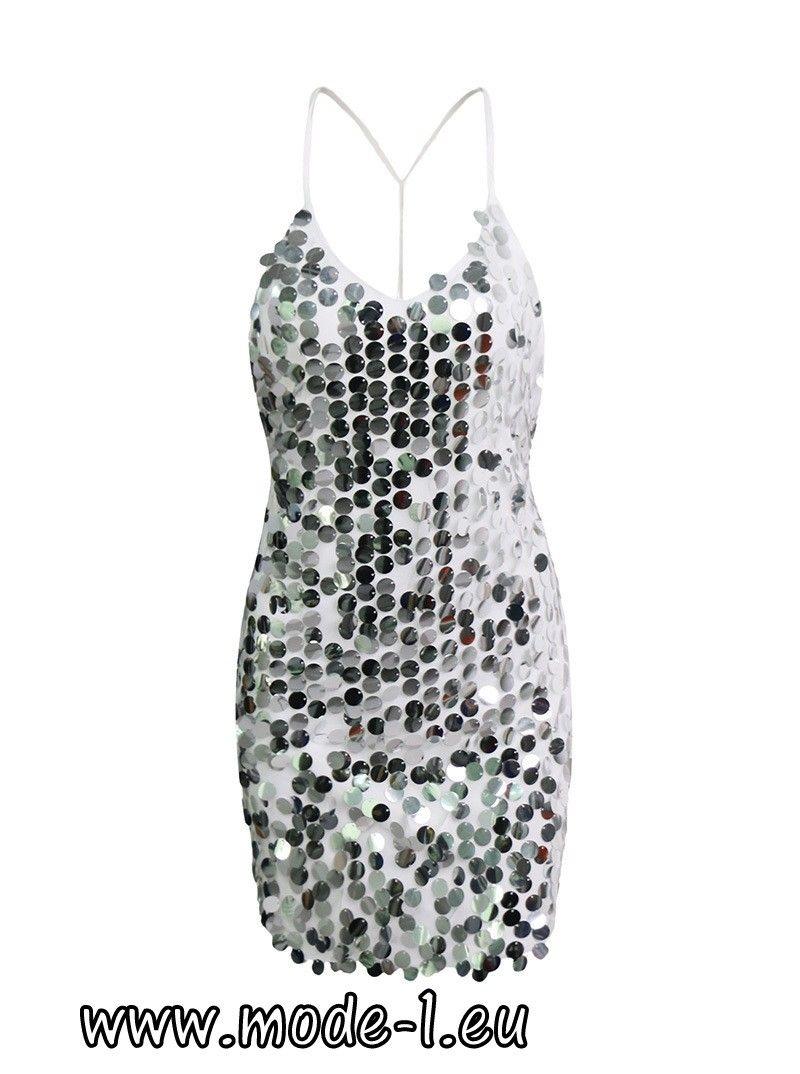Sexy Pailletten Kleid Party Kleid mit Rücken Ausschnitt Weiß | ice ...