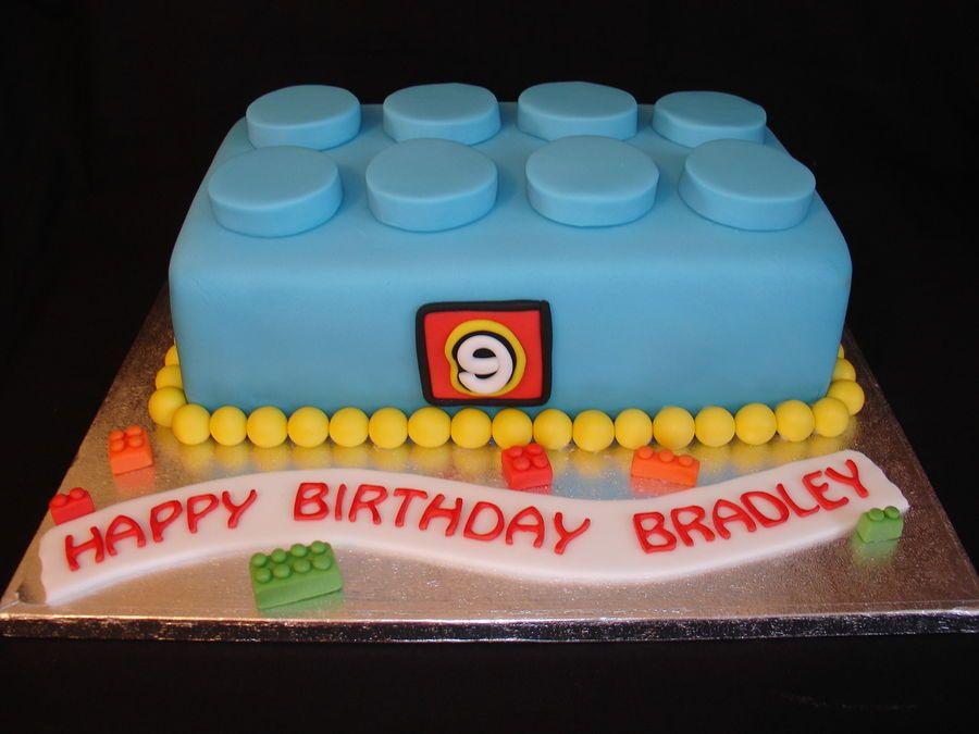 Jan  Little Lego Block Made From Fondant Hope You Like It - Lego birthday cake decorations