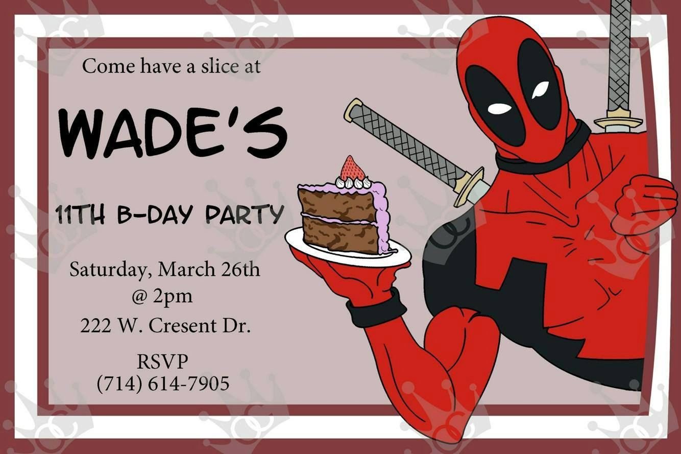 Customized Deadpool Birthday Card InvitationBirthday Party – Print at Home Birthday Cards