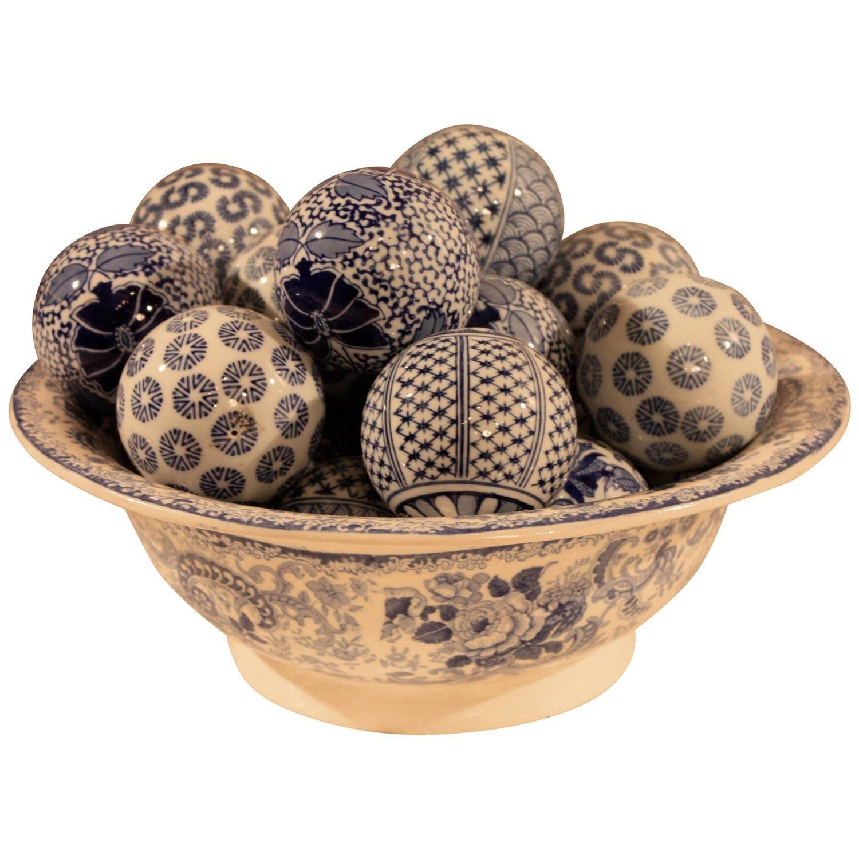 Blue And White Ceramic Bowl With Decorative Balls White Ceramics