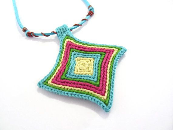 Crochet necklace,fiber necklace,crochet medallion,rhombus pendant ...