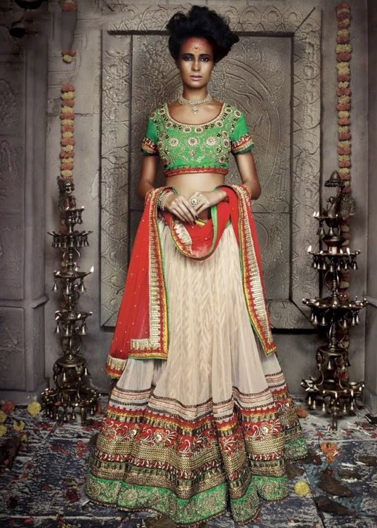 68a78a34e8 Buy Believe Designer Green And Beige Net Lehenga Choli | UK Online Designer  Outlet. Cream Green and Red ...