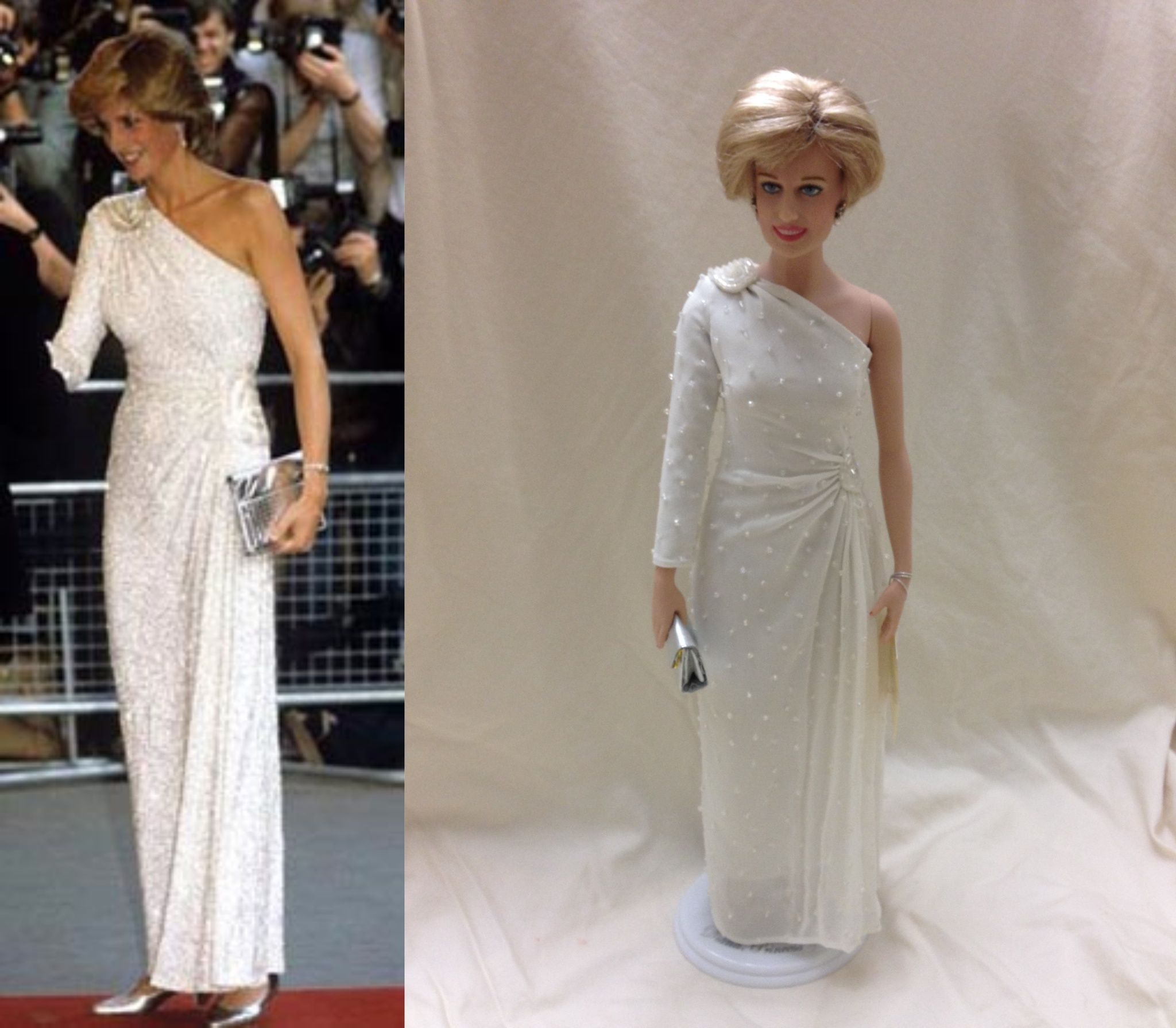 Franklin Mint Princess Diana Hachi doll made by Japanese designer Hachi. It is a one shoulder white columnar dress embroidered from top to bottom with crystals and translucent glass beads. Diana first wore this at a gala in Melbourne, Australia in 1983. She wore this gown many times after that gala.  She also wore this during the photo shoot with Mario Testino. Christie's auction lot #20 #Princess Diana dolls #Franklin Mint dolls #Princess Diana Hachi Doll
