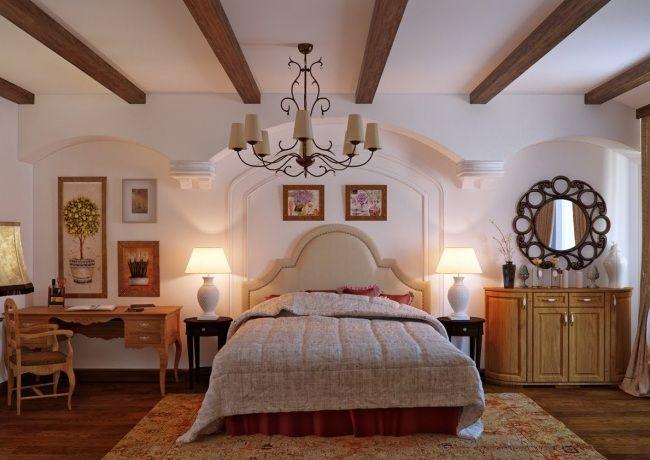 wohnideen für schlafzimmer rustikal braun eichenholz elemente