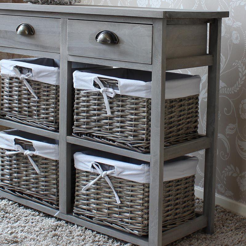Vintage Grey Range Two Drawer And Four Wicker Basket Storage Unit Basket