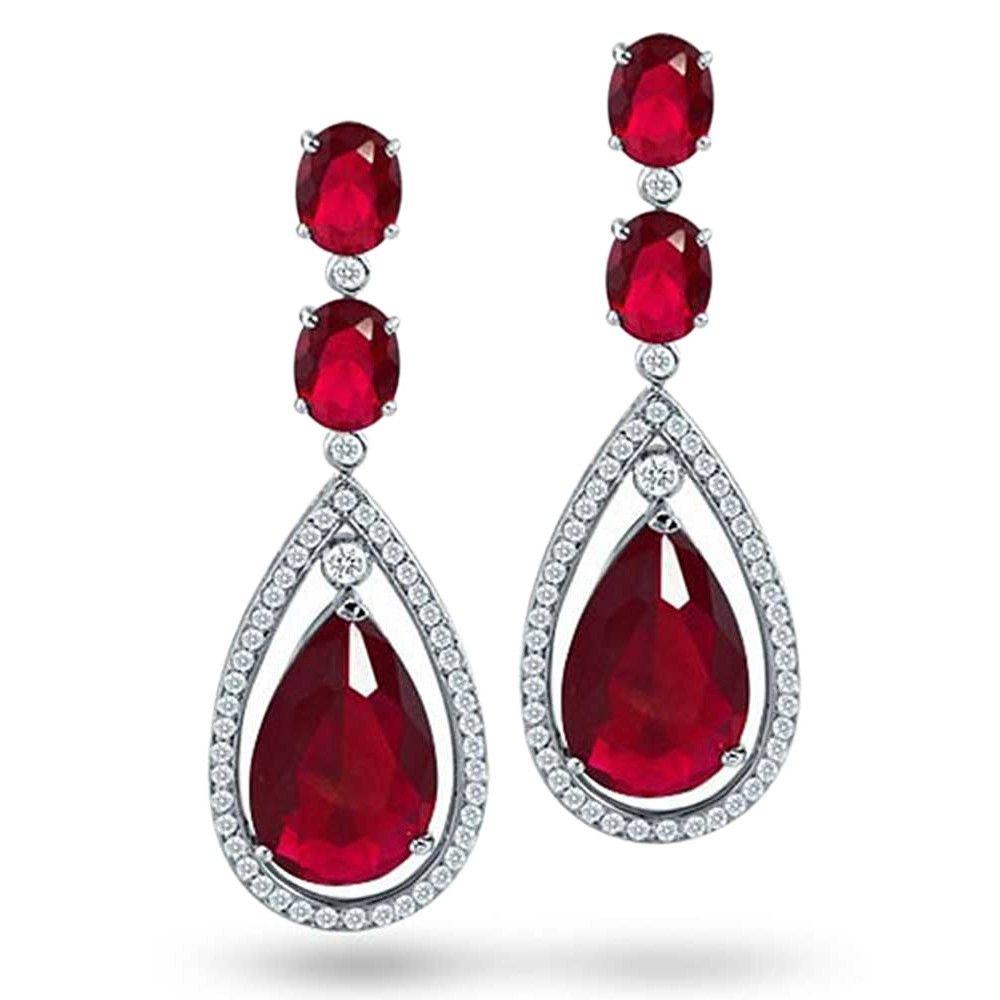Bling Jewelry Color Cz Silver Oval Teardrop Chandelier Earrings 2 5in In Green