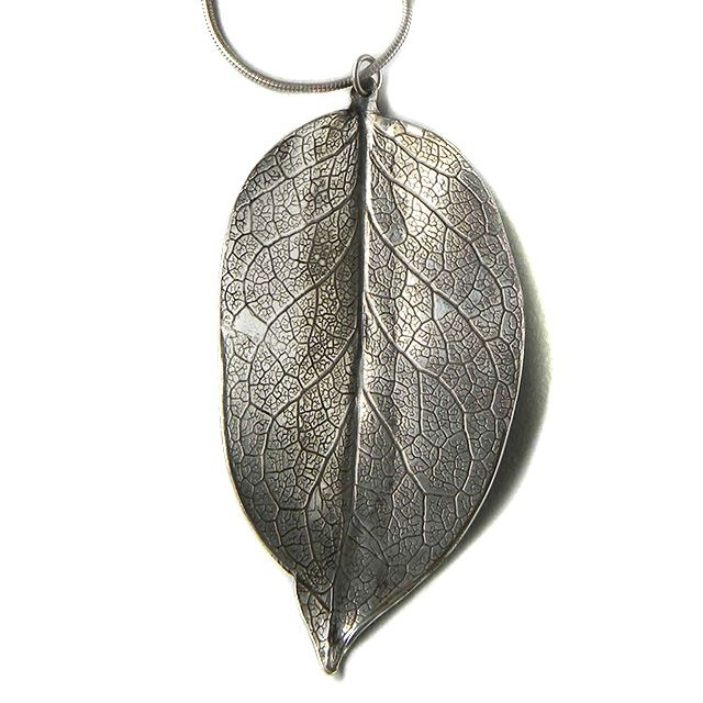 Sterling silver leaf pendant sterling silver oxidized leaf necklace sterling silver leaf pendant sterling silver oxidized leaf necklace with roller printed leaf texture mozeypictures Image collections