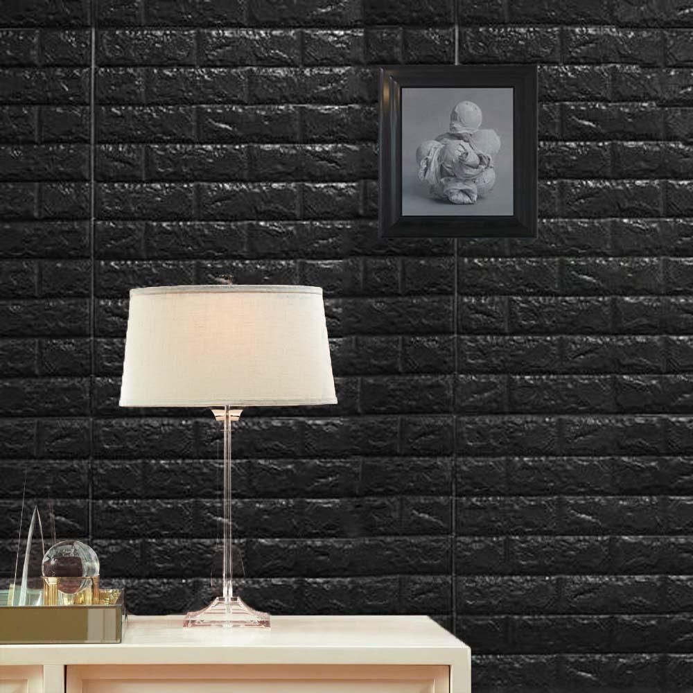Pack Of 10 58 Sq Ft Black Foam Brick Wall Tiles Peel And Stick 3d Wall Panel Room Decor Wall Treatments Faux Brick Wall Paneling