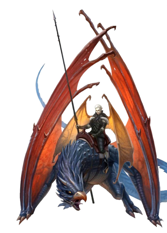 Male Tiefling Cavalier - Rift Drake Rider - Pathfinder PFRPG