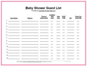 Baby Shower Guest List Template Cute Baby Shower Ideas Baby